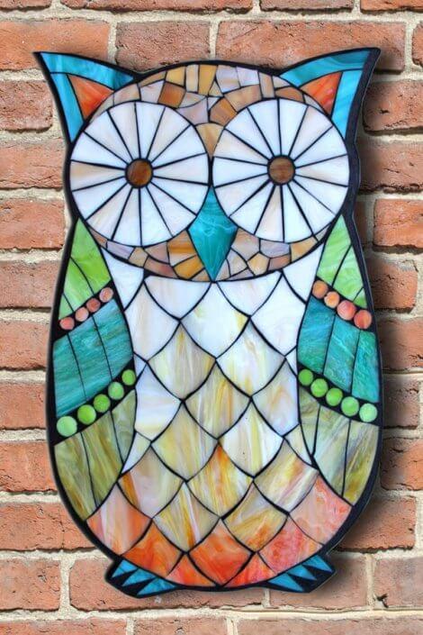 תמונת פסיפס - ינשוף צבעוני