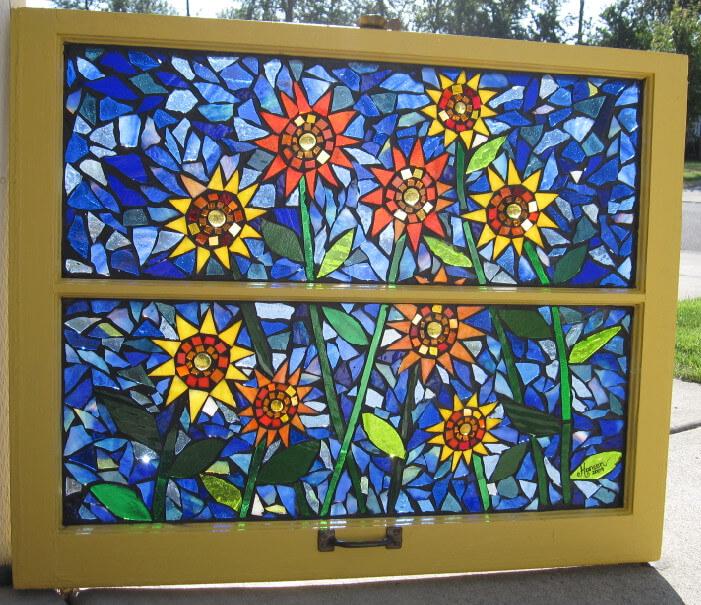 תמונות פסיפס צבעוני עם פרחים