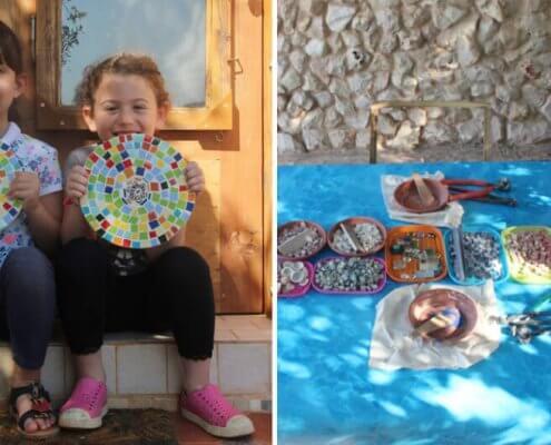 סדנאות מוזאיקה לילדים עם פסיפס זכוכית